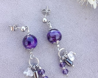 Hanging earrings with agate, hematite, rock crystal