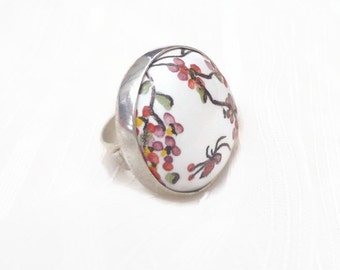 Cherry blossom ring, ceramic ring, outstanding flower ring, japan style ring, ceramic sterling ring, outstanding ceramic ring, orange ring.