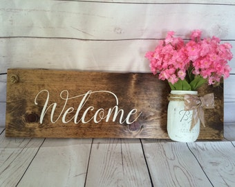 FREE SHIPPING! Welcome Front Door Sign With Ball Jar