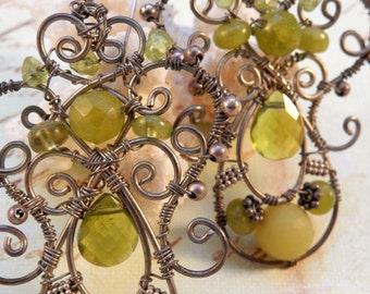 Ornate Sterling Silver and Peridot Earrings