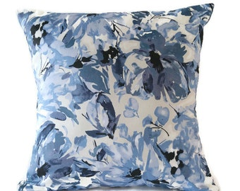 Reserved for customer**Blue Floral pillow cover / blue and white flowered pillow / Handmade 16x16 pillow cover / sunroom pillow