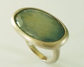 Sapphire Gold Ring - Green Rose Cut Sapphire - 18k Gold Ring - Dalben Design