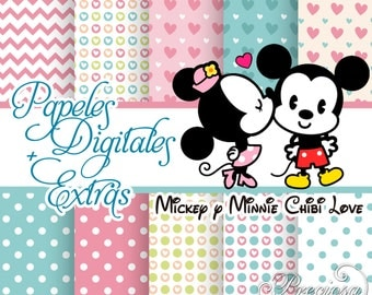 Papers digital cakes Mickey and Minnie Love + Extras