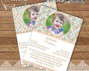 Invitation infant baptism photo printable. -Invitation with photo. Printable