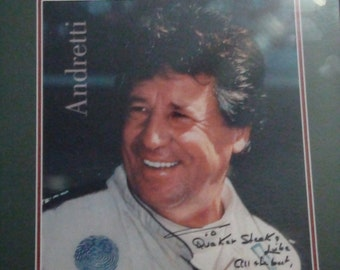 mario Andretti autographed framed photo Reduced