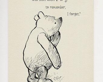 I do remember and then...  - Winnie the Pooh Quotes - classic vintage style  poster print based on original drawing by E.H. Shepard #49