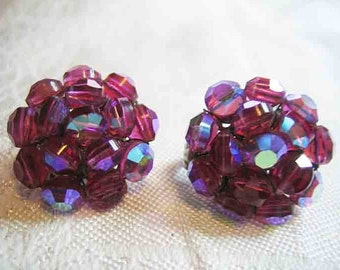 Vintage Vogue Raspberry AB Cut Crystal Clip on Earrings