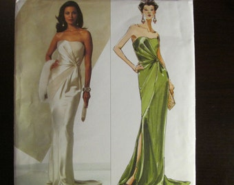 Vogue 2929 American Designer Bellville Sassoon Strapless Gown Sewing Pattern Size 10 12 14 UNCUT V2929