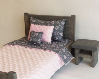 American girl style doll bed and bedding
