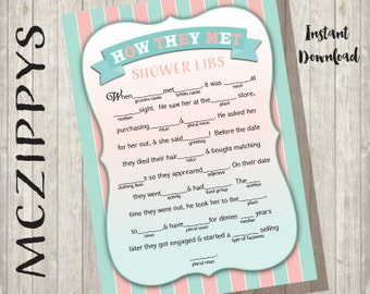 Funny How they met game- 5x7 printable Wedding bridal shower game INSTANT DOWNLOAD Show Libs