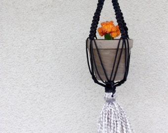 Macrame Black Fringe Plant Hanger- cotton cording with metal ring