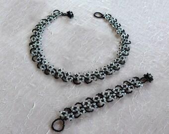 """Set """"Flowery night"""" // Necklace & Bracelet"""