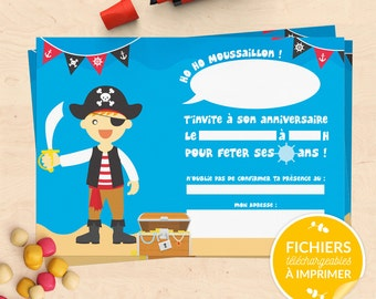 Printable birthday Kit Pirate (invitations, Garland, cake topper, cupcake wrapper, carton box) - boy and girl version
