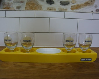 Ricard tray and 4 glasses // Ricard //