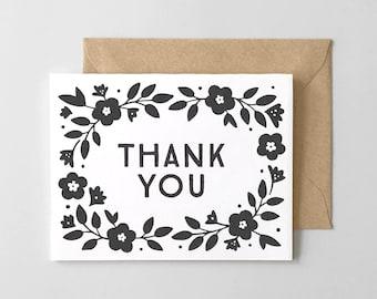 Precious Petunia Letterpress Thank You Card