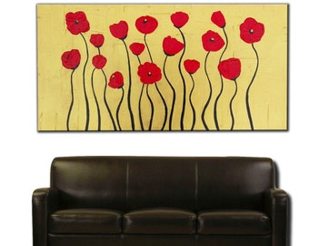Original ABSTRACT PAINTING on Canvas, TEXTURED, gold, red poppies, Wall Art, Modern, Contemporary