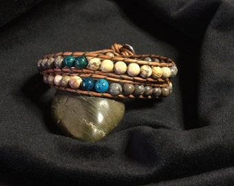 Beautiful unique double wrap stone leather bracelet, chan luu style jewelry, bohemian beaded bracelet