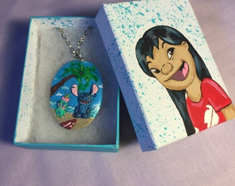 Lilo stitch and scrump necklace
