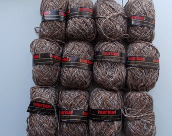 Brown yarn, linen yarn, cotton yarn, vegan yarn, natural yarn, yarn lot, tweed yarn, cheap yarn, light yarn, DK yarn, light worsted yarn