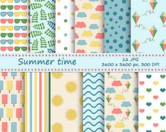 Summer digital paper pack - 12 printable jpeg papers, 3600x3600 px, 300 dpi - Printable backgrounds