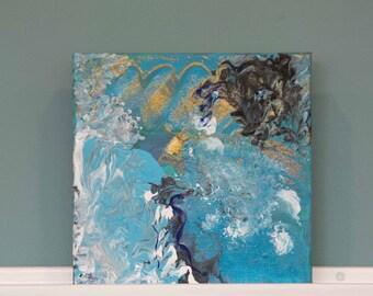 "Magic Sea - Original Mixed Media on canvas frame. 8"" x 8"" x 1.5"""