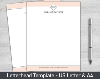 Letterhead Template for Word, Personalized Letterhead, Business Letterhead, Custom Letterhead, DIY Stationary, Custom Stationary