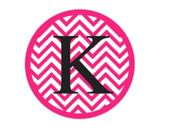Chevron Circle with Single Letter Monogram