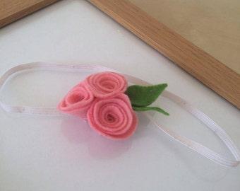 Pink Triple Rosette Headband