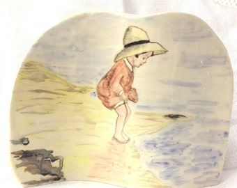 Little Girl Seaside Ceramic Pottery Picture