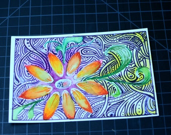 Watercolor and Ink Flower Postcard