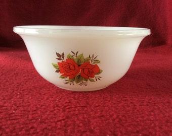 "Phoenix Opalware Roses Pattern Bowl 4 1/2"" diameter"