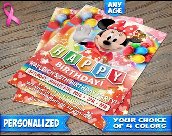 Minnie Mouse Birthday Invitation Red - Personalized Digital File or Printed on Heavy Stock with Free Envelopes - Minnie Mouse Invitations