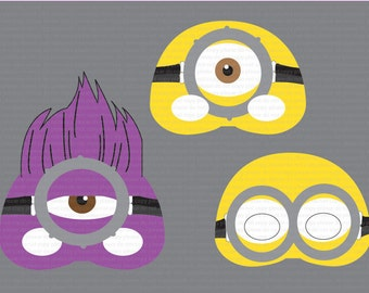 Purple minion printable goggles minion mask etsy uk