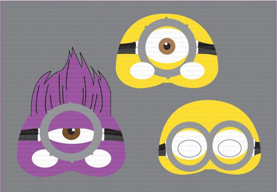 INSTANT DL Despaicable Me 2 Mask Photo Booth Props Set Minion Printable Birthday Party Package