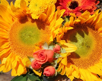 Yellow and Orange Flower Photo, Sunflower, Orange Roses, 5x7 Photo, 8x10 Photo, 11x14 Photo, Fresh Flower Bouquet