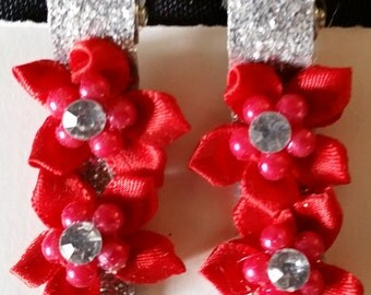 Silver and Red Hair Clips