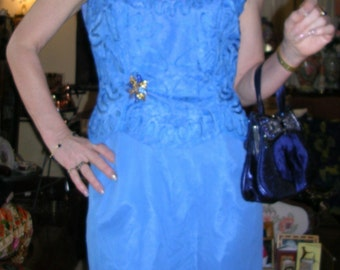 Vintage original 50's cornelli worked sapphire blue satin, silk chiffon and lace wiggle dress and matching jacket by Elinor Gay size: small