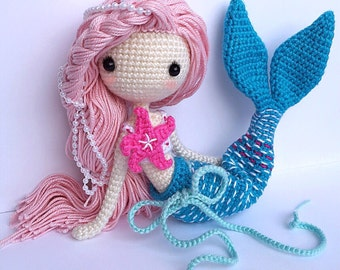 Crochet Doll Pattern - Mermaid-Ava艾娃. (A crochet doll with 2 look, mermaid or little girl)_VK_ver)_9924
