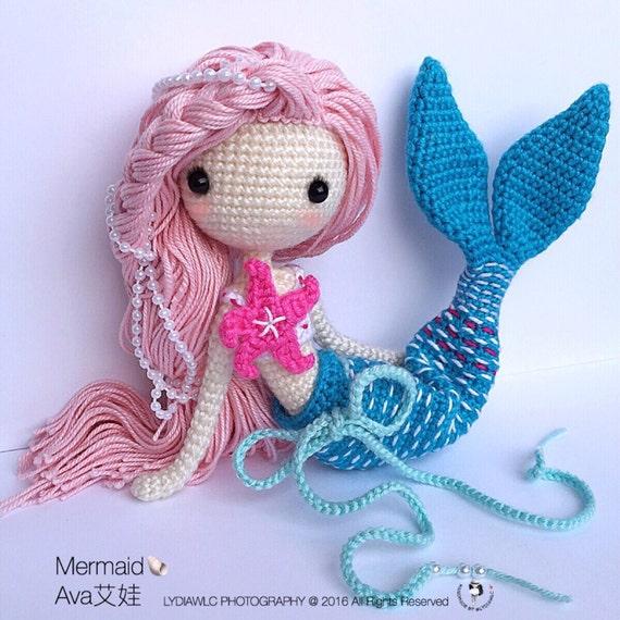 Crochet Pattern Mermaid Doll : Crochet Doll Pattern Mermaid-Ava??. A crochet doll with 2