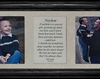 7x15 NEPHEW Poetry & Photo Gift Frame from an AUNT or UNCLE to a Nephew ~ 2-Opening Picture Frame