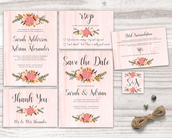 Floral Rustic Wood Invitation