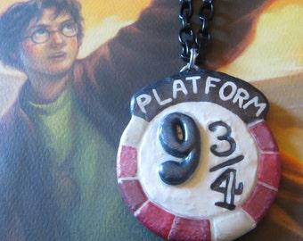 9 3/4's handmade pendant on chain OOAK necklace Harry Potter inspired nine three quarters Hogwarts Express King's Cross