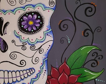 Hand painted skull canvas