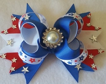 4th of July Stacked Boutique Hair Bow