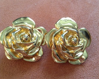 Original Yves Saint Laurent YSL vintage rose earrings earrings