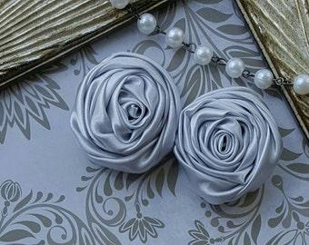Silver Gray Satin Ribbon Roses