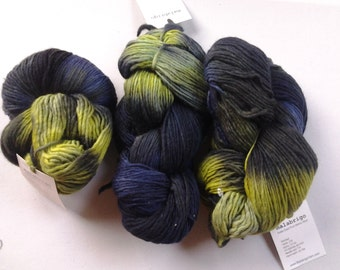 "Malabrigo, Kettle dyed Pure Merino Wool, Aran, colorway ""Lime blue"" luxury yarn"