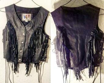 Black Leather Fringe Vest with Conchos