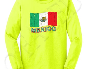 Mexico Flag Adults LS Tees Mexico Flag Men's Long Sleeve T-shirt Distress Mexican Cool  - 1058C_GMLS