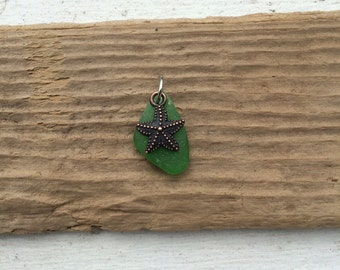 Green Maine sea glass pendant